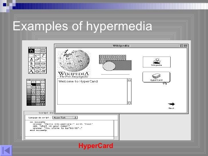 Examples of hypermedia HyperCard