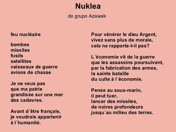 Nuklea do grupo Azawak   <ul><li>feu nucléaire  </li></ul><ul><li>bombes </li></ul><ul><li>missiles </li></ul><ul><li>fusi...