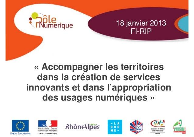 18 janvier 2013                         FI-RIP  « Accompagner les territoires   dans la création de servicesinnovants et d...