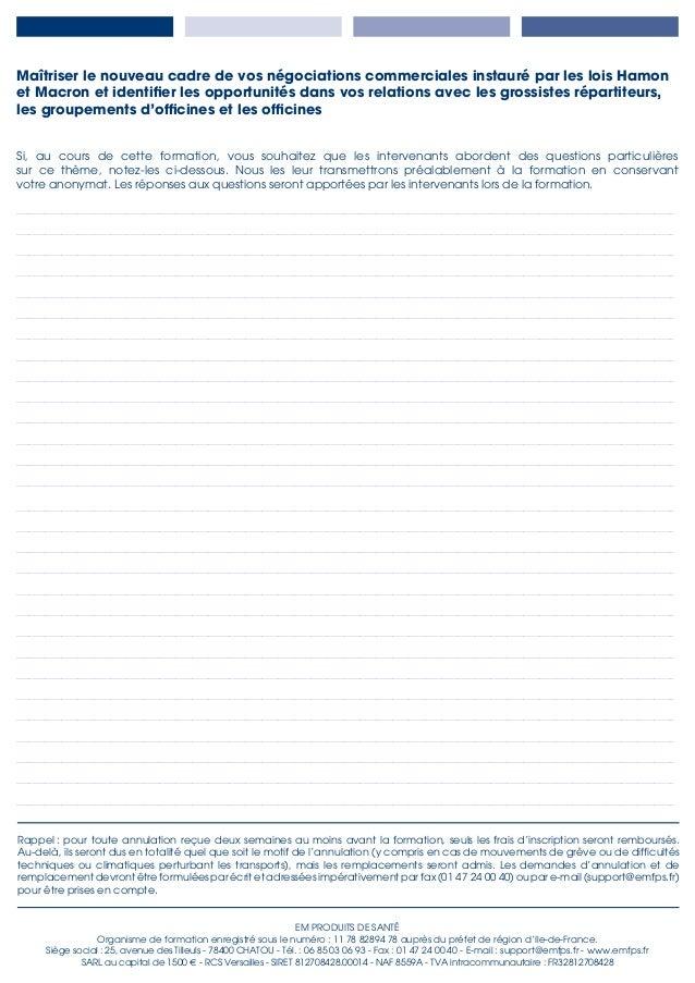 EM PRODUITS DE SANTÉ Organisme de formation enregistré sous le numéro : 11 78 82894 78 auprès du préfet de région d'Ile-de...
