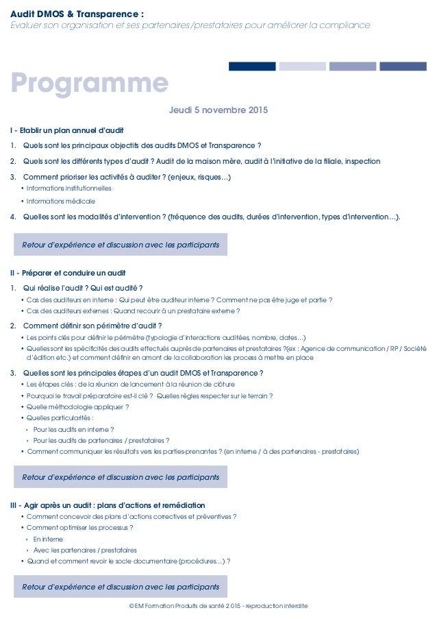 5 novembre 2015 | Audit DMOS & Transparence Slide 3