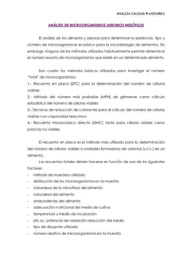 ANALIZA CALIDAD ® ASESORES  ANÁLISIS DE MICROORGANISMOS AEROBIOS MESÓFILOS El análisis de los alimento y piensos para dete...