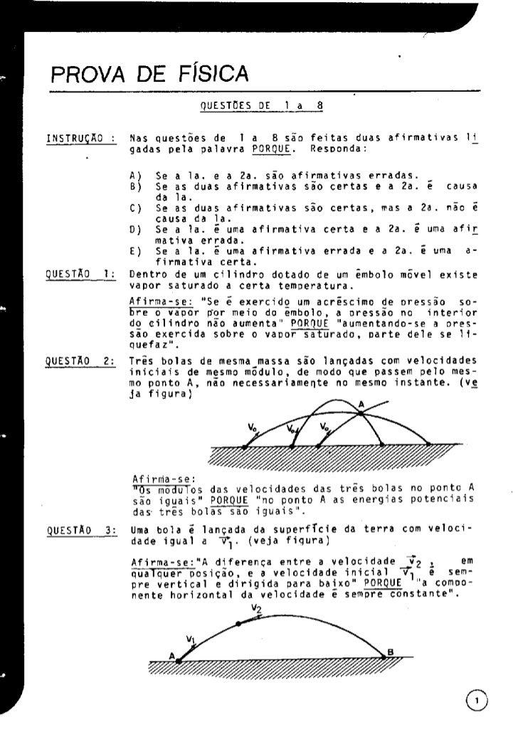 UFMG Provas Antigas 1973 cin6 - Conteúdo vinculado ao blog      http://fisicanoenem.blogspot.com/    Slide 3