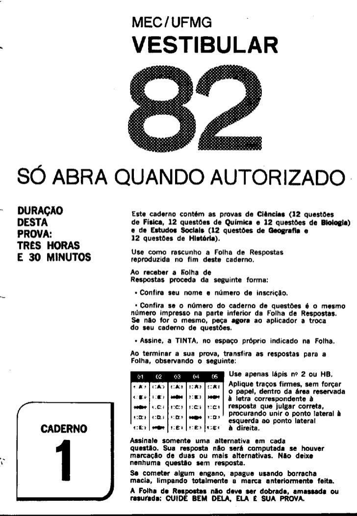 UFMG Provas Antigas 1982 caderno 1 - Conteúdo vinculado ao blog      http://fisicanoenem.blogspot.com/