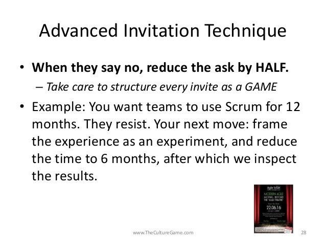 Invitation as leadership art agile israel 2016 daniel mezick theculturegame 27 28 advanced invitation stopboris Image collections