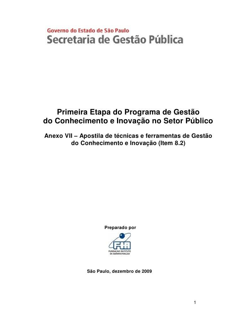 Primeira Etapa do Programa de Gestão do Conhecimento e Inovação no Setor Público Anexo VII – Apostila de técnicas e ferram...