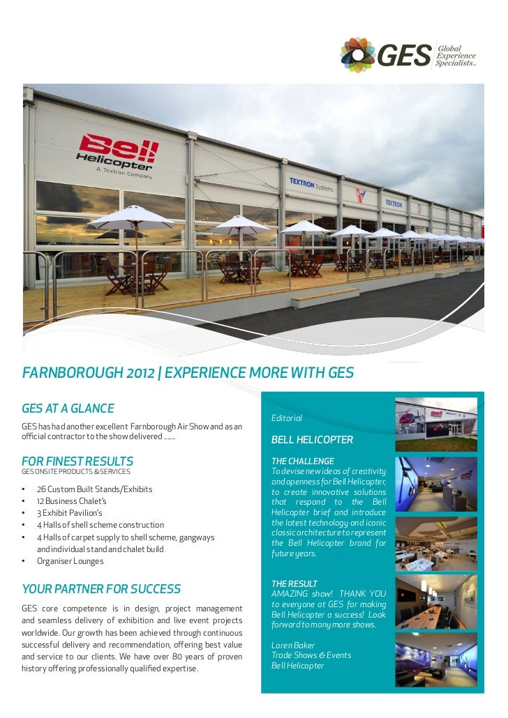 NewsletterFARNBOROUGH 2012   EXPERIENCE MORE WITH GESGES AT A GLANCE                                                      ...