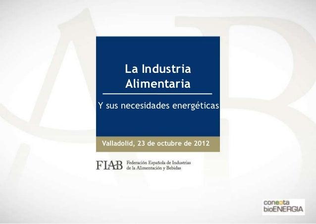 La Industria      AlimentariaY sus necesidades energéticasValladolid, 23 de octubre de 2012