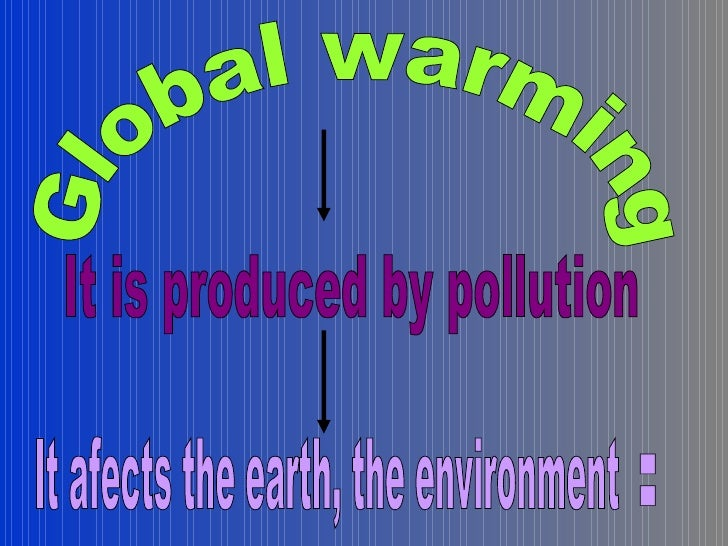 Global warming It is produced by pollution It afects the earth, the environment  :