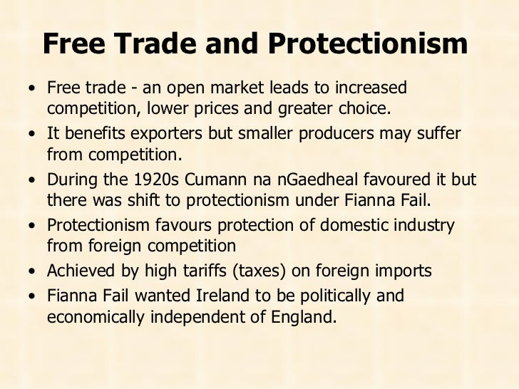 free trade vs protection Free trade is the only type of truly fair trade because it offers consumers the most choices and the best opportunities to improve their standard of living.