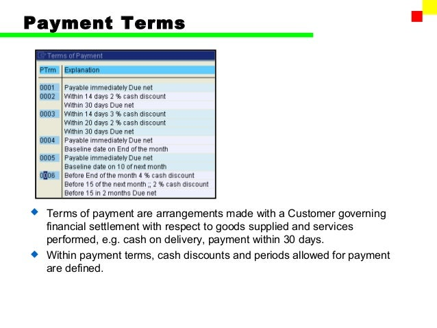 SAP FI Accounts Receivable - Invoice 30 day terms