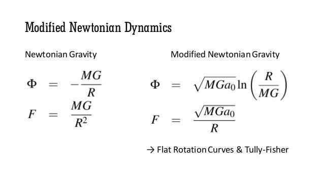 Modified Newtonian Dynamics Newtonian Gravity Modified Newtonian Gravity → Flat Rotation Curves & Tully-Fisher