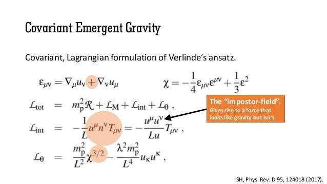 Covariant Emergent Gravity Covariant, Lagrangian formulation of Verlinde's ansatz. SH, Phys. Rev. D 95, 124018 (2017). The...