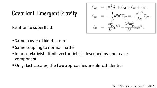 Covariant Emergent Gravity Relation to superfluid:  Same power of kinetic term  Same couplingto normal matter  In non-r...