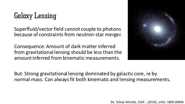 Galaxy Lensing Superfluid/vector field cannot couple to photons because of constraints from neutron-star merger. Consequen...