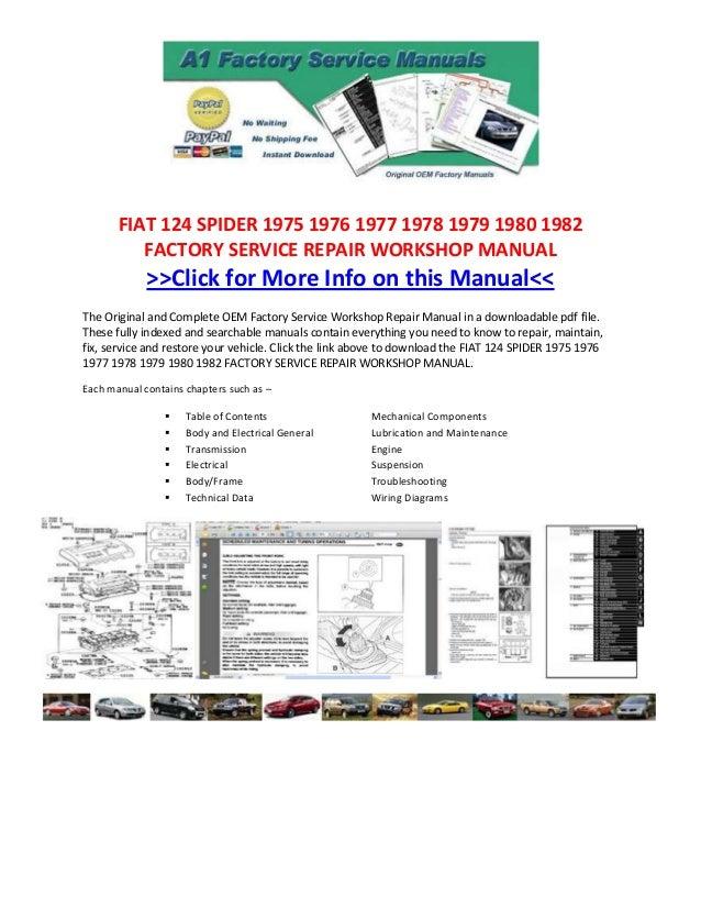 fiat 124 spider 1975 1976 1977 1978 1979 1980 1982 factory service repair  workshop manual