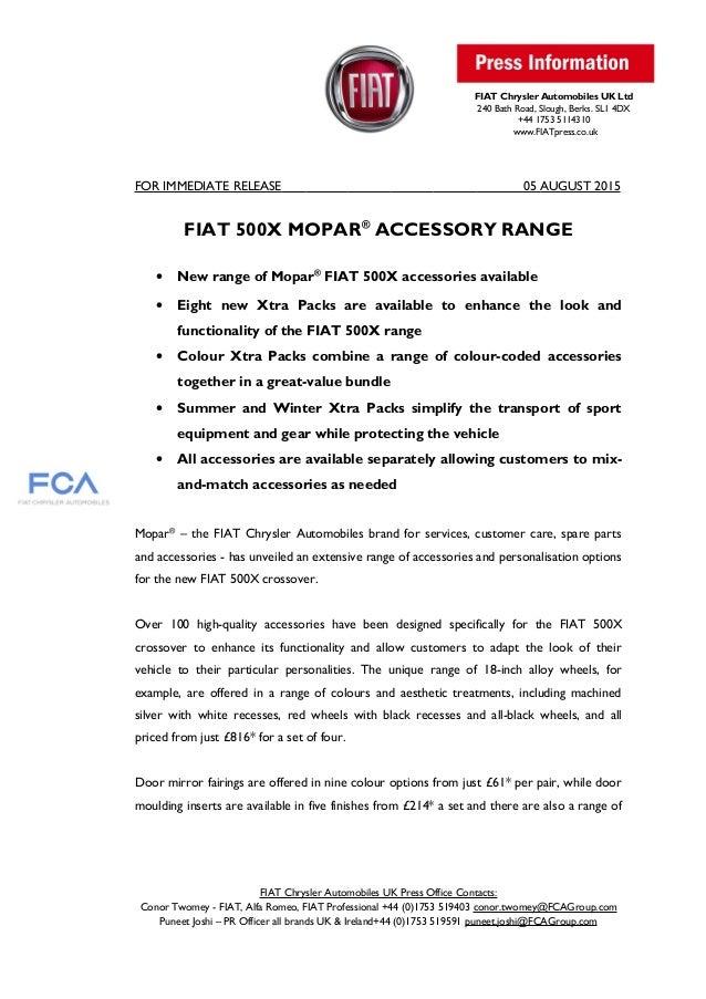 Fiat 500 x mopar accessories press release