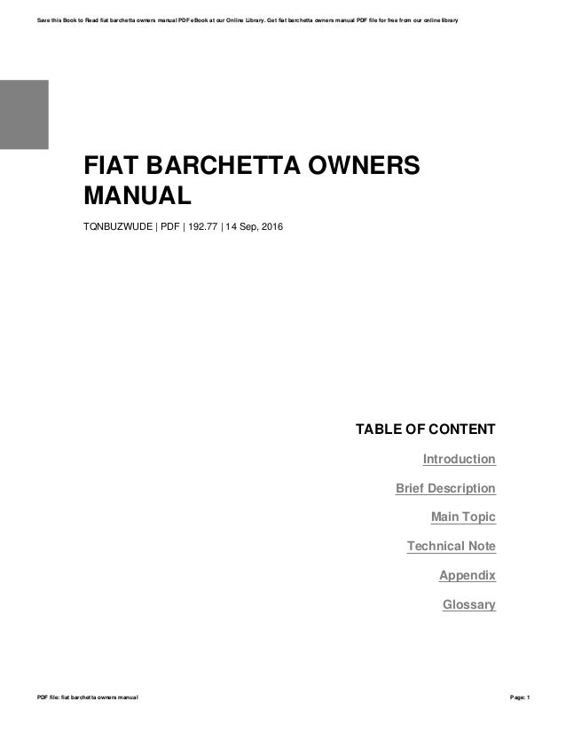 Fiat barchetta owners manual