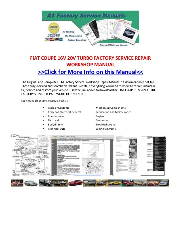 Fiat Coupe 16 V 20v Turbo Factory Service Repair Workshop Manual