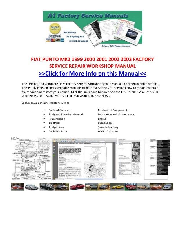 Fiat punto mk2 1999 2000 2001 2002 2003 factory service repair worksh