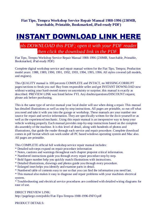 Fiat tipo tempra workshop service repair manual 1988 1996 230 mb s
