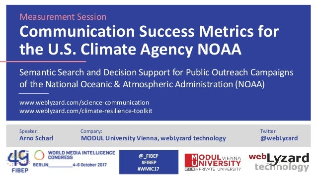Measurement Session Communication Success Metrics for the U.S. Climate Agency NOAA Semantic Search and Decision Support fo...