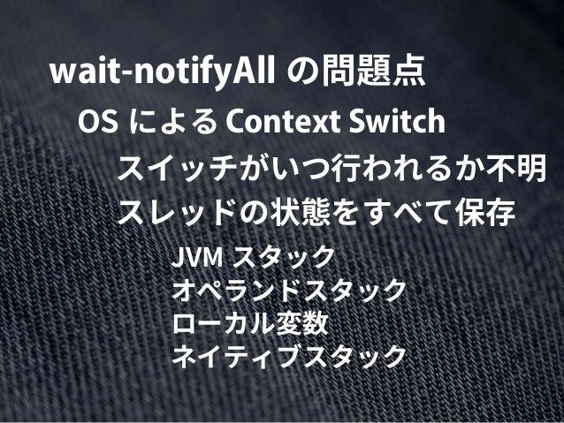 wait-notifyAll の問題点 Context SwitchOS による スイッチがいつ行われるか不明 スレッドの状態をすべて保存 JVM スタック オペランドスタック ローカル変数 ネイティブスタック