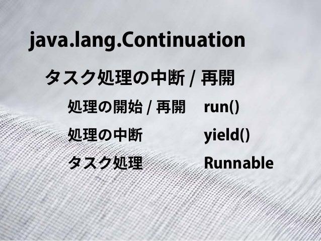 java.lang.Continuation タスク処理の中断 / 再開 run()処理の開始 / 再開 yield()処理の中断 Runnableタスク処理
