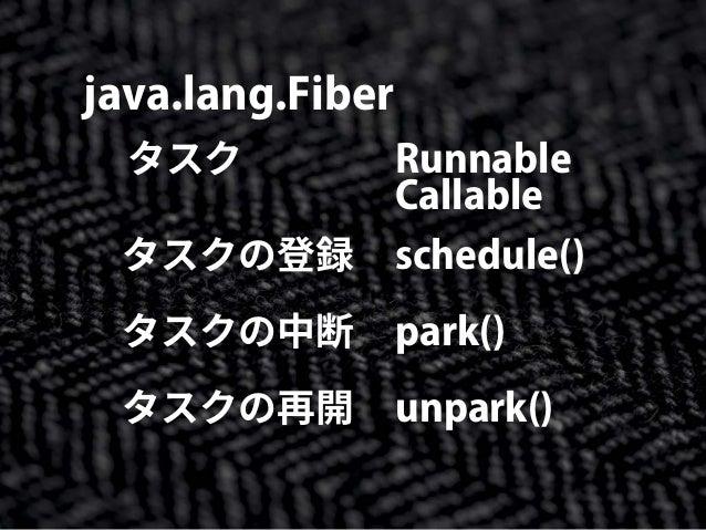 java.lang.Fiber タスク Callable Runnable schedule() park() unpark() タスクの登録 タスクの中断 タスクの再開