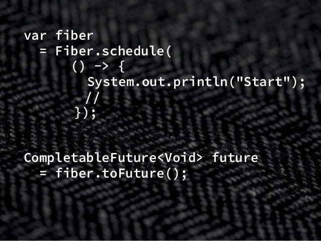 """var fiber = Fiber.schedule( () -> { System.out.println(""""Start""""); // タスク処理 }); CompletableFuture<Void> future = fiber.toFut..."""