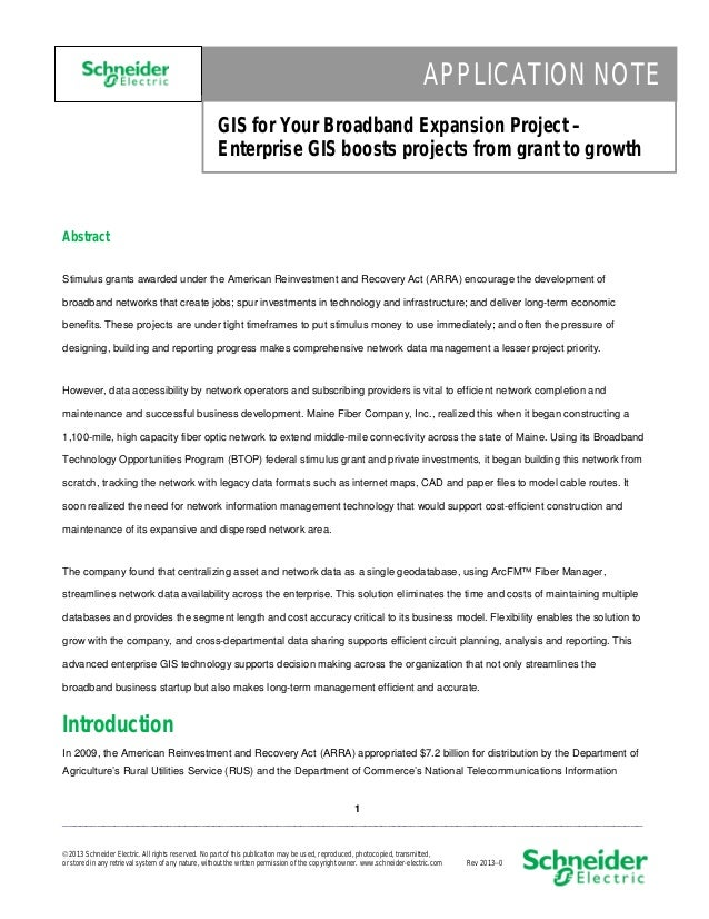 APPLICATION NOTE GIS for Your Broadband Expansion Project – Enterprise GIS boosts projects from grant to growth  Abstract ...