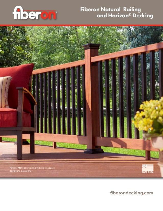 fiberondecking.com Fiberon Natural Railing  and Horizon® Decking Natural Mahogany railing with black square composite b...