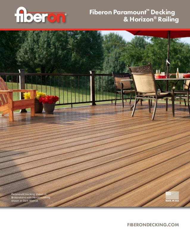 Paramount decking shown in Brownstone with Horizon railing shown in Dark Walnut. FIBERONDECKING.COM Fiberon Paramount™ Dec...