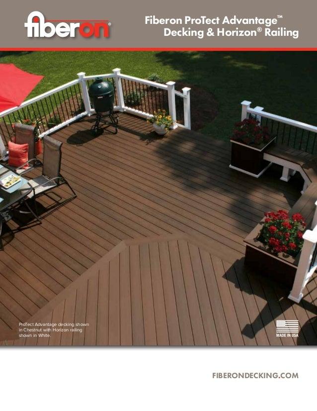 ProTect Advantage decking shown in Chestnut with Horizon railing shown in White. FIBERONDECKING.COM Fiberon ProTect Advant...