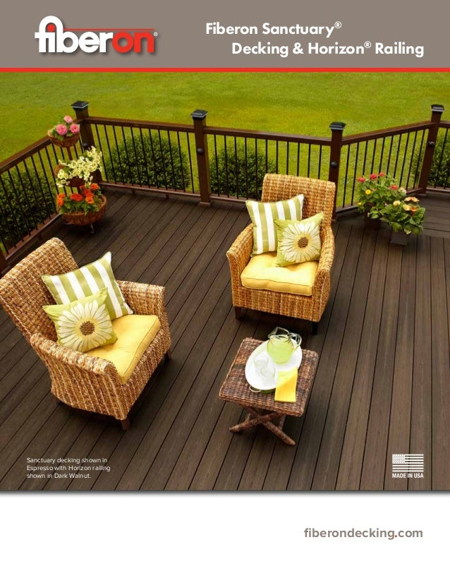 fiberondecking.com Sanctuary decking shown in Espresso with Horizon railing shown in Dark Walnut. Fiberon Sanctuary® 	 Dec...