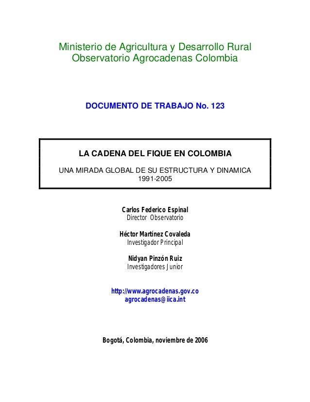 Ministerio de Agricultura y Desarrollo Rural Observatorio Agrocadenas Colombia DOCUMENTO DE TRABAJO No. 123 LA CADENA DEL ...