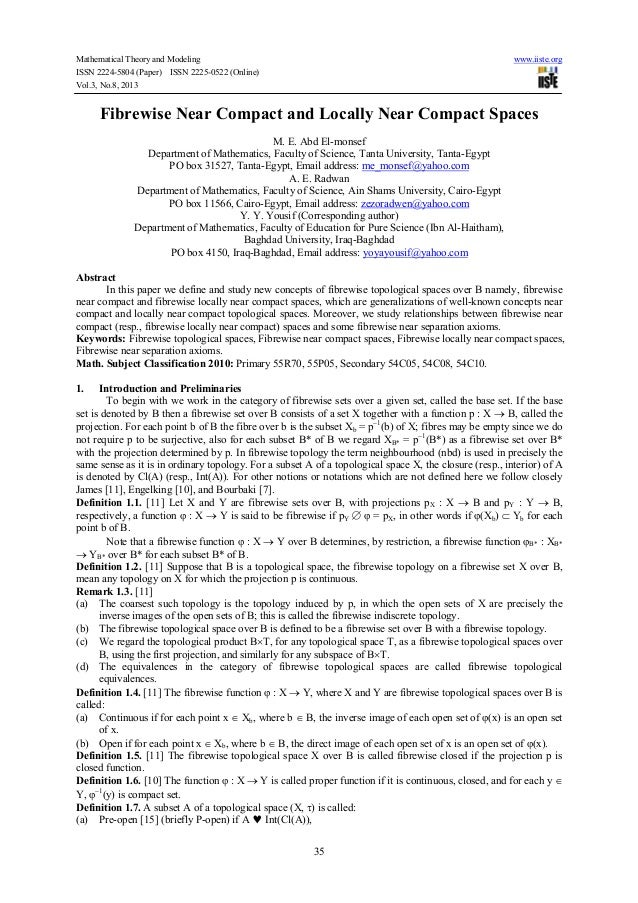 Mathematical Theory and Modeling www.iiste.org ISSN 2224-5804 (Paper) ISSN 2225-0522 (Online) Vol.3, No.8, 2013 35 Fibrewi...