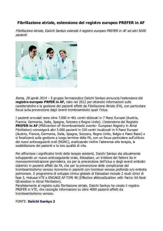 Fibrillazione atriale, estensione del registro europeo PREFER in AF Fibrillazione Atriale, Daiichi Sankyo estende il regis...