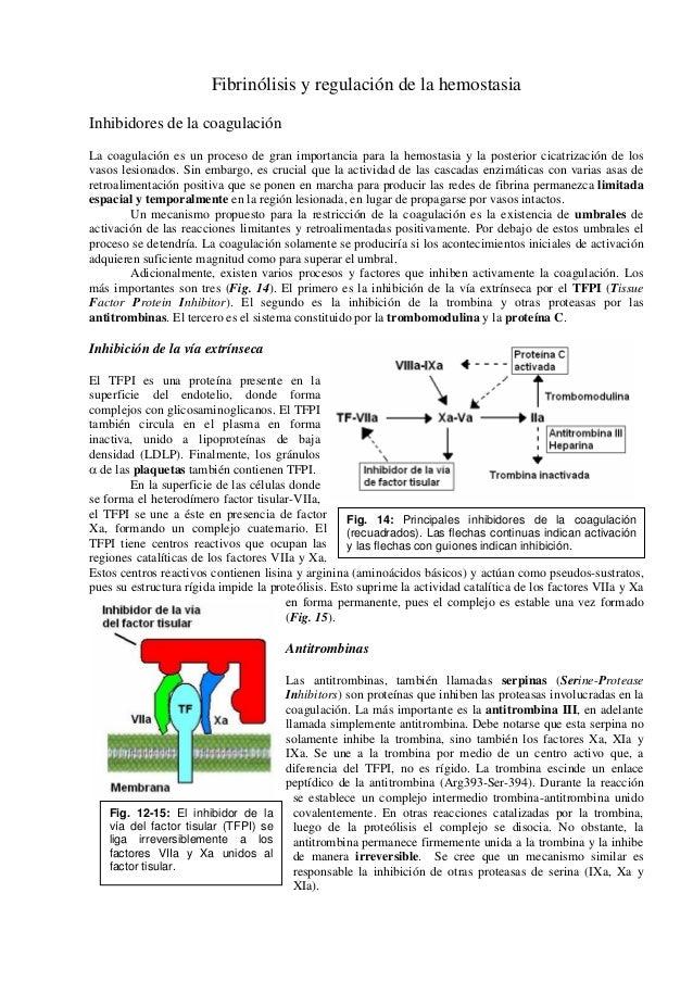 Fibrinólisis y regulación de la hemostasiaInhibidores de la coagulaciónLa coagulación es un proceso de gran importancia pa...