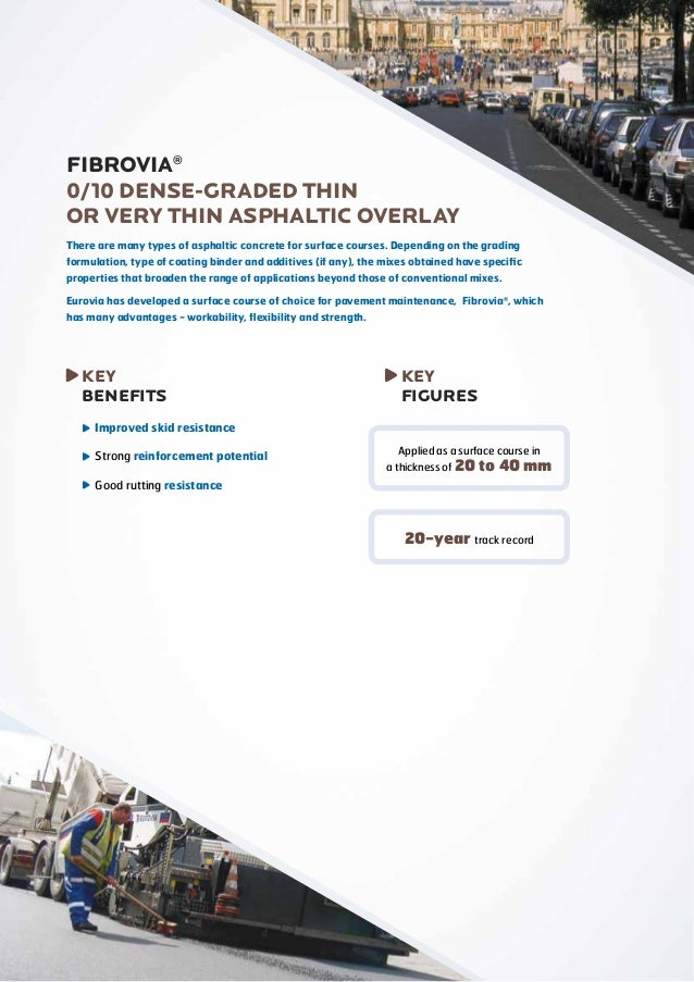 FIBROVIA® 0/10 DENSE-GRADED THIN OR VERY THIN ASPHALTIC OVERLAY There are many types of asphaltic concrete for surface cou...