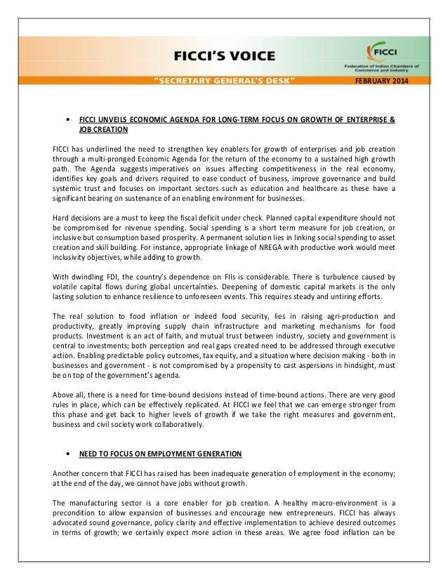 FEBRUARY 2014  •  FICCI UNVEILS ECONOMIC AGENDA FOR LONG-TERM FOCUS ON GROWTH OF ENTERPRISE & JOB CREATION  FICCI has unde...