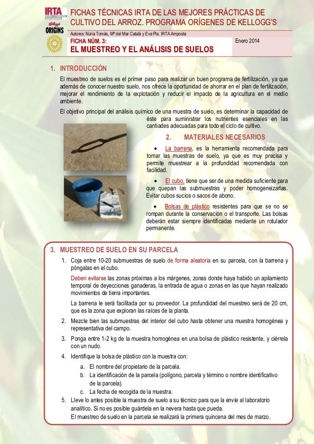 Ficha técnica 3. muestreo y anaílisis de suelos