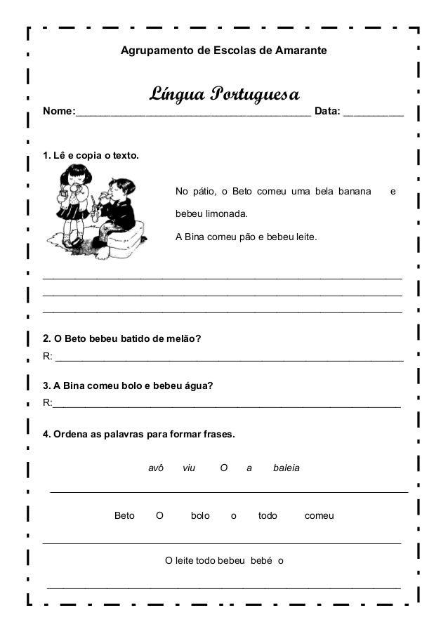 Agrupamento de Escolas de Amarante Língua Portuguesa Nome:_______________________________________________ Data: __________...