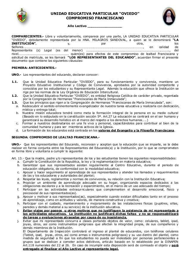 """UNIDAD EDUCATIVA PARTICULAR """"OVIEDO"""" COMPROMISO FRANCISCANO Año Lectivo _________________ COMPARECIENTES.- Libre y volunta..."""