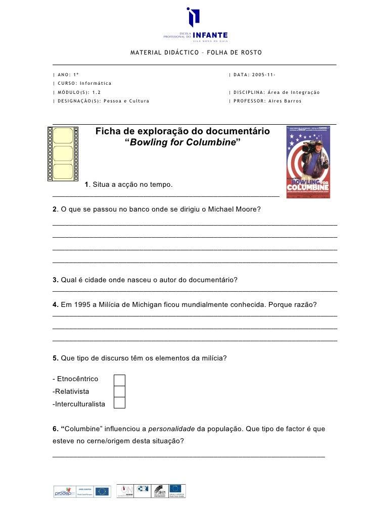 MATERIAL DIDÁCTICO – FOLHA DE ROSTO   | ANO: 1º                                              | DATA: 2005-11- | CURSO: Inf...