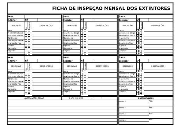 FICHA DE INSPEÇÃO MENSAL DOS EXTINTORES  ÁREA ÁREA ÁREA  Extintor Nº Extintor Nº Extintor Nº  DESCRIÇÃO  OK  REPROVADO  OB...