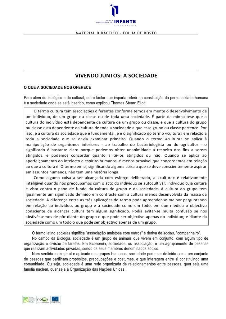 MATERIAL DIDÁCTICO – FOLHA DE ROSTO                                   VIVENDO JUNTOS: A SOCIEDADE O QUE A SOCIEDADE NOS OF...
