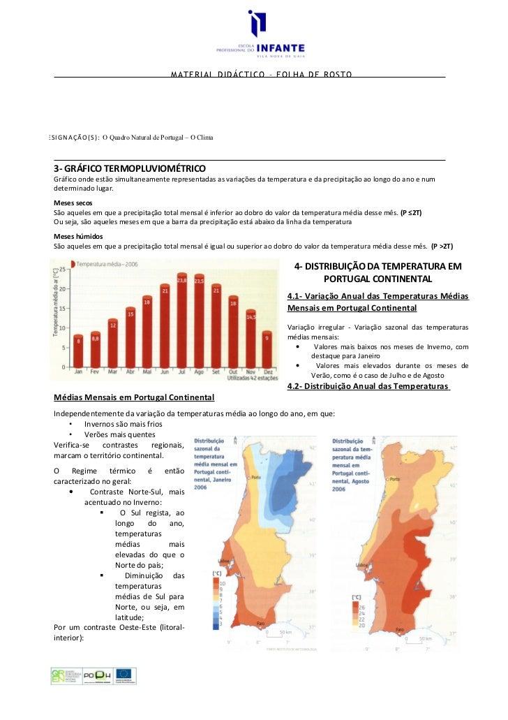 MATERIAL DIDÁCTICO – FOLHA DE ROSTO     D E S I G N A Ç Ã O ( S ) : O Quadro Natural de Portugal – O Clima        3- GRÁFI...