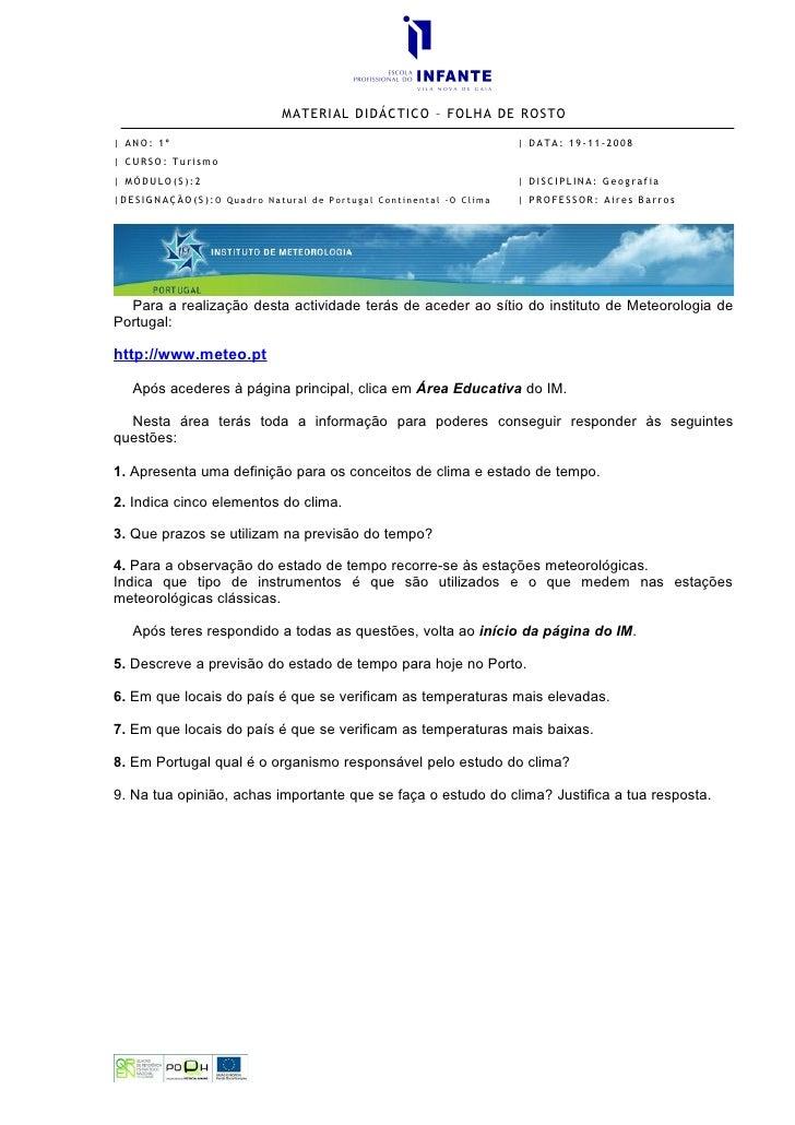 MATERIAL DIDÁCTICO – FOLHA DE ROSTO    ANO: 1º                                                            DATA: 19-11-2008...