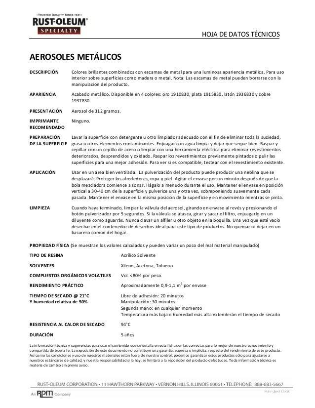Ficha tecnica specialty-metalico